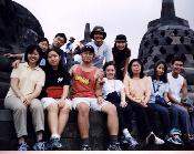Group photo at the ancient temple of Borobudor
