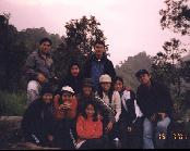 Withstanding the cold together while waiting for sunrise at Gunung Merapi